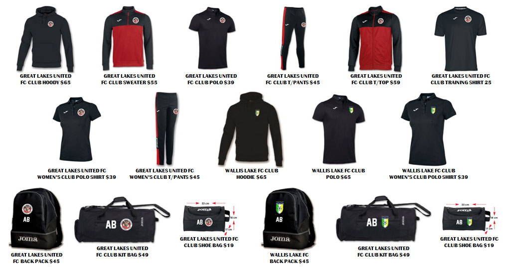 Great Lakes United Football Club - Apparel Range